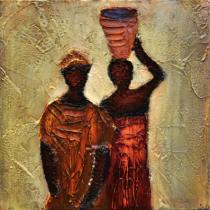 obrazy, reprodukce, Africké ženy s vysokou nádobou