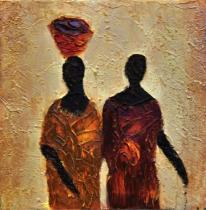 obrazy, reprodukce, Africké ženy s misou