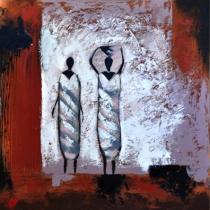obrazy, reprodukce, Africké ženy v šedom