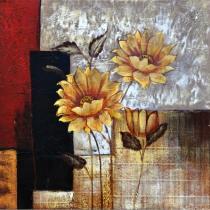 Abstraktní květiny - Slunečnice, obrazy ručně malované
