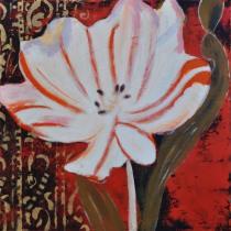 Abstraktní květiny - Bílá květina, obrazy ručně malované