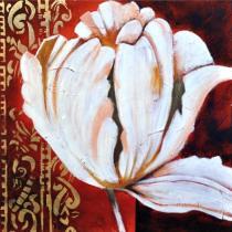 Abstraktní květiny - Bílá květina 3, obrazy ručně malované