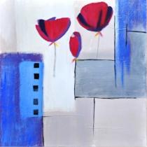 Abstraktní květiny - Máky na modrém pozadí, obrazy ručně malované
