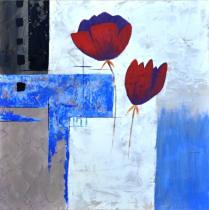 Abstraktní květiny - Máky na modrém pozadí 2, obrazy ručně malované