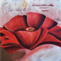 Abstraktní květiny - Máky 5, obrazy ručně malované