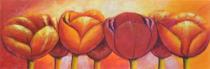 Obrazy květin - Barevné tulipány, obrazy ručně malované