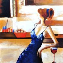 Lidé, postavy - Žena v modrých šatech, obrazy ručně malované