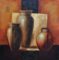 Nádoby - Hnědé vázy, obrazy ručně malované