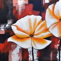 Abstraktní květiny - Žluté květy v barevném pozadí, obrazy ručně malované