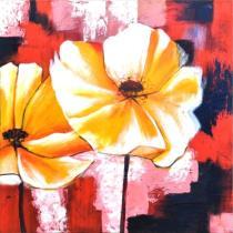 Abstraktní květiny - Žluté květy v barevném pozadí 2, obrazy ručně malované