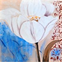 Obrazy květin - Bílá květina v modrém pozadí 2, obrazy ručně malované