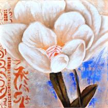 Obrazy květin - Bílá květina v modrém pozadí 3, obrazy ručně malované