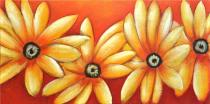 Obrazy květin - Žluté kopretiny, obrazy ručně malované