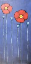 Obrazy květin - Červené květinky, obrazy ručně malované