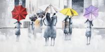 Domy, města, ulice - Město v dešti, obrazy ručně malované