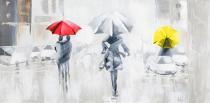 Domy, města, ulice - Lidé v dešti, obrazy ručně malované