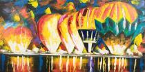 Domy, města, ulice - Balóny, obrazy ručně malované