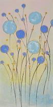 Abstraktní květiny - Modré květiny, obrazy ručně malované