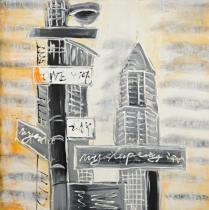 Domy, města, ulice - Rozcestník, obrazy ručně malované