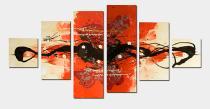 Vícedílné obrazy - Oranžový abstrakt, obrazy ručně malované