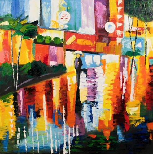 obraz Ulice v dešti - ručně malovaný obraz - Domy 5cf96af1ac