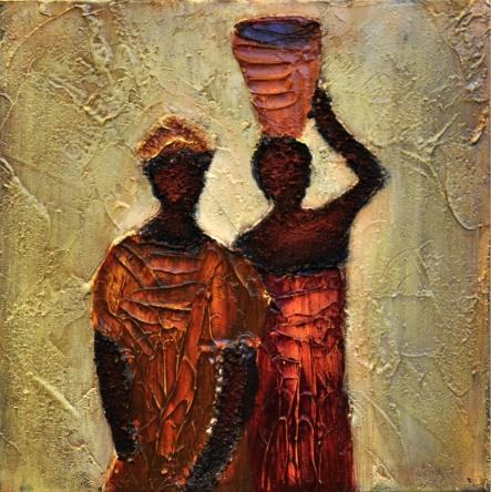 obraz Africké ženy s vysokou nádobou