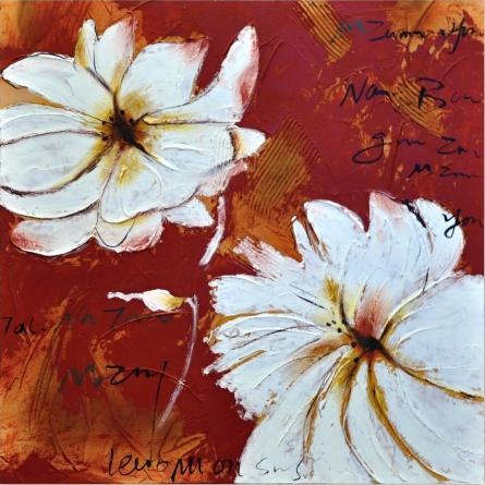 obraz Biele kvety na červenom pozadí
