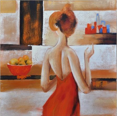 obraz Žena v červených šatech