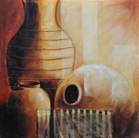 obraz Hnedé vypuklé vázy