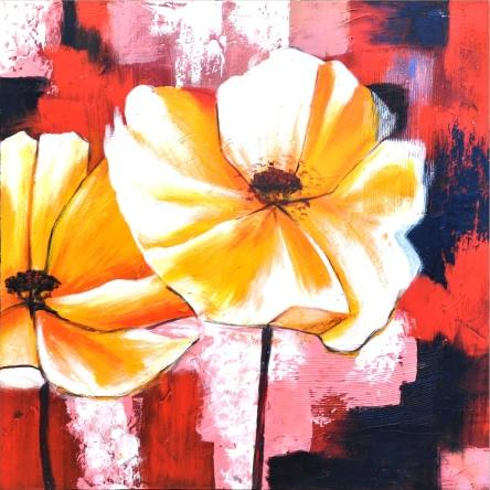 obraz Žluté květy v barevném pozadí 2