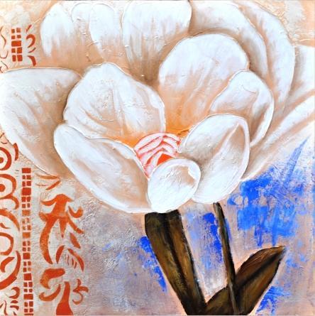 obraz Bílá květina v modrém pozadí 3