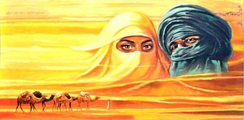 obraz Beduíni s velbloudy