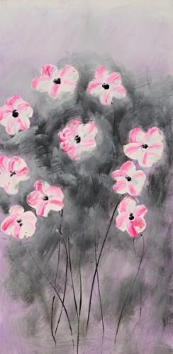 obraz Růžové kytičky