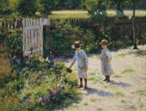 obrazy, reprodukce, Děti v zahradě