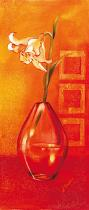 obrazy, reprodukce, Kvetina vo váze - oranžové pozadia - oranžové pozadí