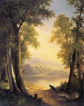 obrazy, reprodukce, Háj nad jezerem