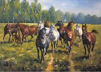 obrazy, reprodukce, Koně I