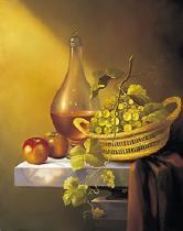 obrazy, reprodukce, Zátiší - jablka, víno