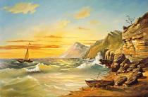 obrazy, reprodukce, Mořský břeh s útesem