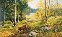 obrazy, reprodukce, Krajina s jeleňom