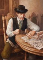 obrazy, reprodukce, Žid s novinami