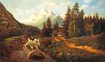 obrazy, reprodukce, Potok v údolí