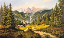 obrazy, reprodukce, Krajina s vodopádem