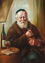 obrazy, reprodukce, Žid. Kalich vína
