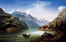 obrazy, reprodukce, Horská krajina s lodí