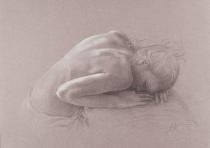 obrazy, reprodukce, Akt s hlavou v klíně