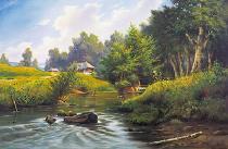 obrazy, reprodukce, Nad řekou