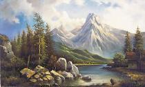 obrazy, reprodukce, Obydlí v horách