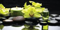 obrazy, reprodukce, Oriental spa with orchid, candle and pebbles