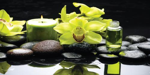 obraz Oriental spa with orchid, candle and pebbles